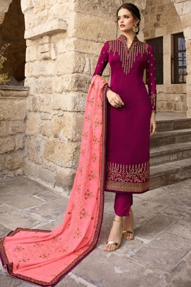 Magenta Pink Satin Georgette Straight Cut Embroidered Suit