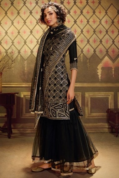 Black Net Straight Cut Sequins Worked Sharara Suit
