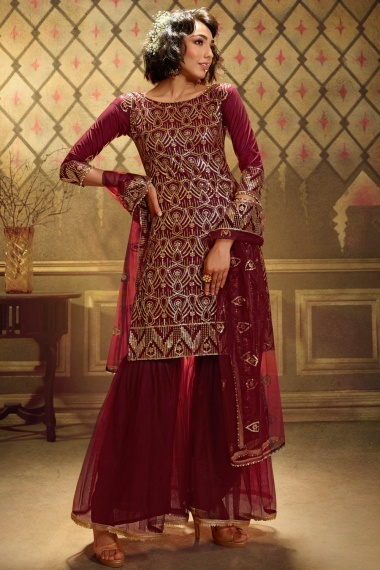 Maroon Net Straight Cut Sharara Suit with Sequins Work