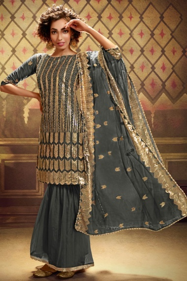 Grey Net Straight Cut Sequins Worked Sharara Suit