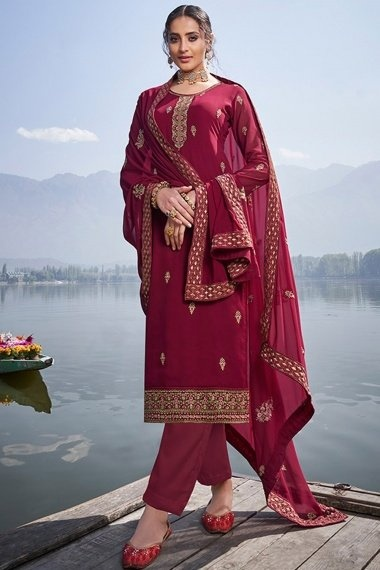 Maroon Georgette Floral Embroidered Straight Cut Suit