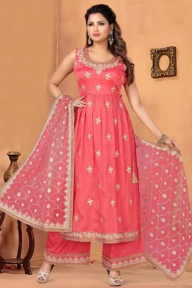 Pink Chinon Straight Cut Palazzo Suit with Embroidery