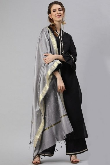 Black Cotton Straight Cut Palazzo Suit with Bell Sleeves