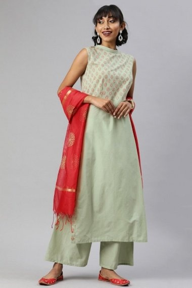 Sage Green Cotton Straight Cut Printed Palazzo Suit