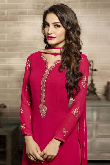 Pink Georgette Embroidered Straight Cut Suit