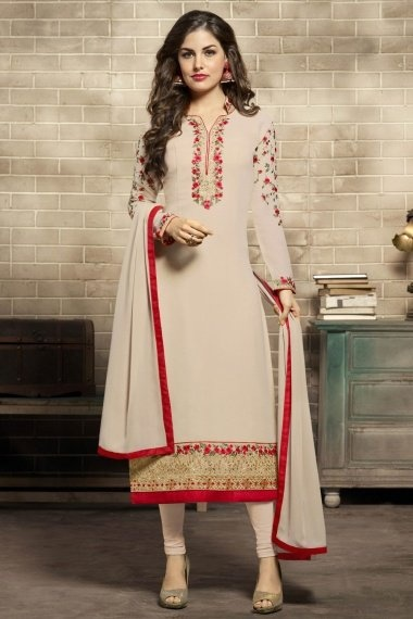 Cream Georgette Straight Cut Suit with Floral Embroidery