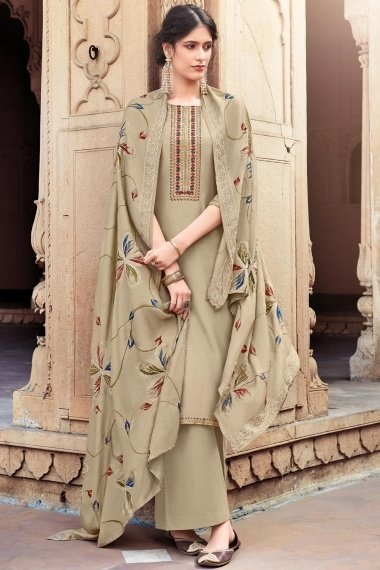 Taupe Cotton Silk Straight Cut Palazzo Suit with Embroidery