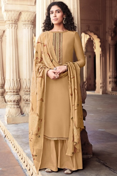 Beige Cotton Silk Straight Cut Palazzo Suit with Embroidery
