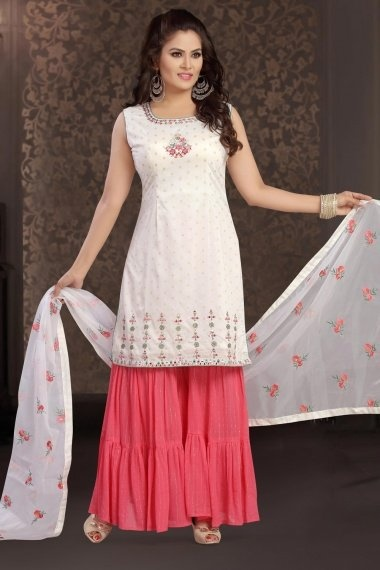 Off White Chanderi Straight Cut Sharara Suit with Applique Work