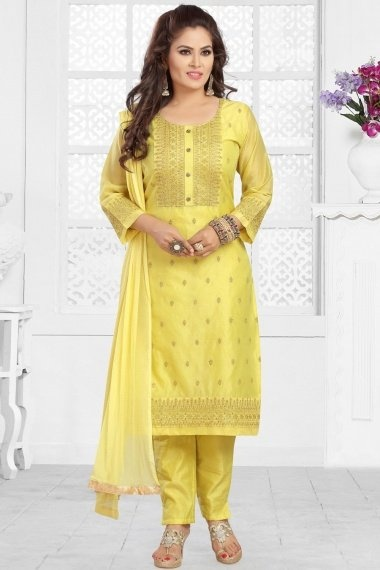 Lime Yellow Chanderi Embroidered Straight Cut Suit