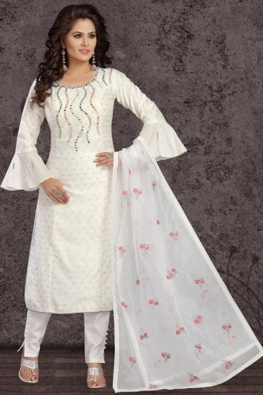 Off White Chanderi Straight Cut Suit with Bell Sleeves
