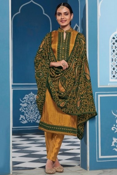 Mustard Uppada Silk Straight Cut Suit with Embroidery