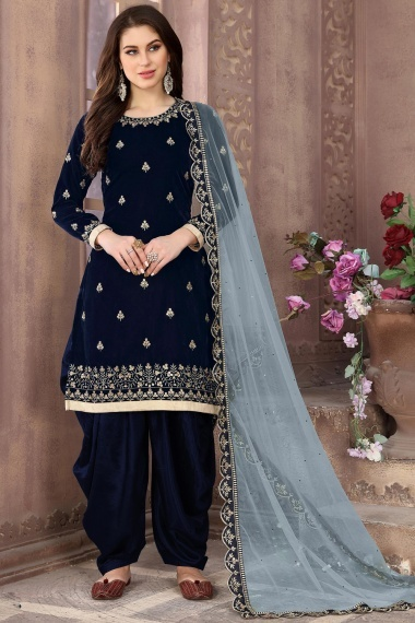 Blue Velvet Embroidered Straight Cut Patiala Suit