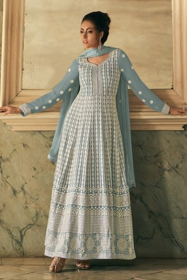 Grey Georgette Lucknowi Worked Suit