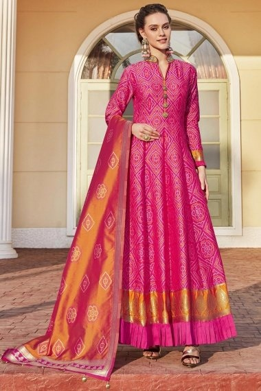 Pink Jacquard Bandhani Printed Woven Anarkali Suit with Pleated Border