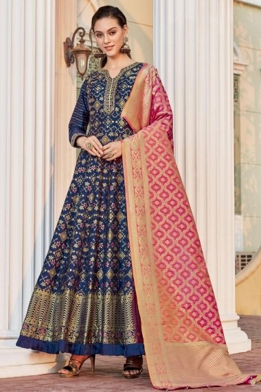 Navy Blue Jacquard All Over Woven Anarkali Suit with Pleated Border