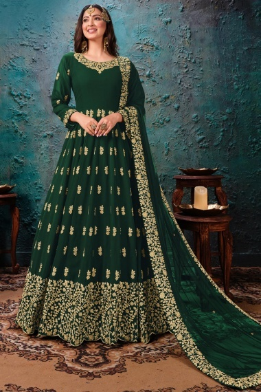 Green Georgette Anarkali Suit with Dori Embroidery