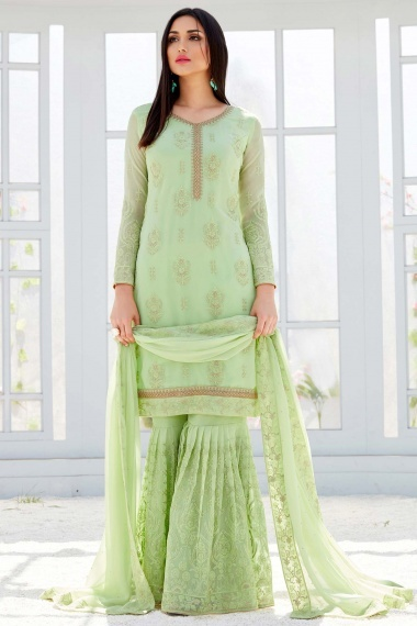 Green Georgette Straight Cut Embroidered Sharara Suit