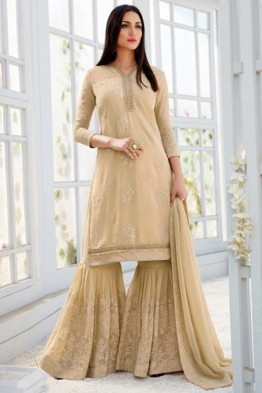 Beige Georgette Straight Cut Embroidered Sharara Suit