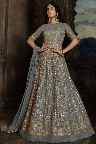 Sonal Chauhan Grey Net Designer Floor Length Embroidered Anarkali Suit with Frill Border
