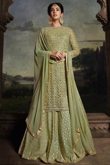 Sonal Chauhan Light Green Net Designer Embroidered Straight Cut Palazzo Suit
