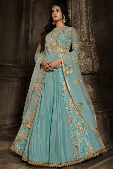 Sonal Chauhan Sky Blue Georgette Designer Floor Length Anarkali Suit with Floral Embroidery