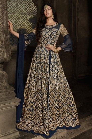 Sonal Chauhan Navy Blue Net Designer Side Slit Cut Embroidered Suit with Bell Sleeves
