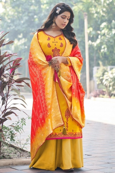 Yellow Art Silk Straight Cut Embroidered Palazzo Suit with Bandhej Dupatta