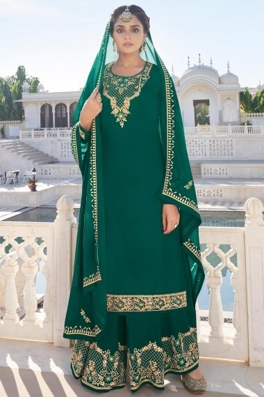 Green Georgette Straight Cut Palazzo Suit with Embroidery