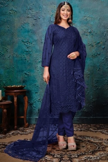 Navy Blue Net Embroidered Staright Cut Suit with Stone