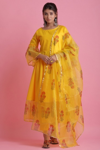 Yellow Cotton Organza Bell Sleeved Anarkali Suit with Floral Printed Motifs