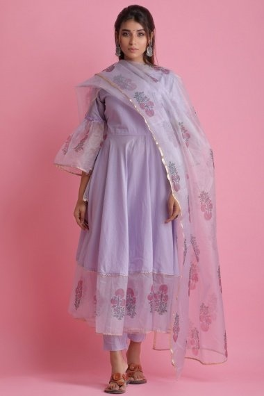 Light Purple Cotton Organza Bell Sleeved Anarkali Suit with Floral Printed Motifs