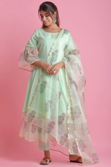 Mint Green Cotton Organza Bell Sleeved Anarkali Suit with Floral Printed Motifs