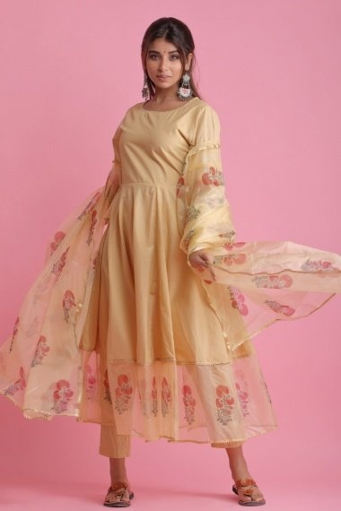 Beige Cotton Organza Bell Sleeved Anarkali Suit with Floral Printed Motifs