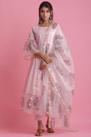 Baby Pink Cotton Organza Bell Sleeved Anarkali Suit with Floral Printed Motifs