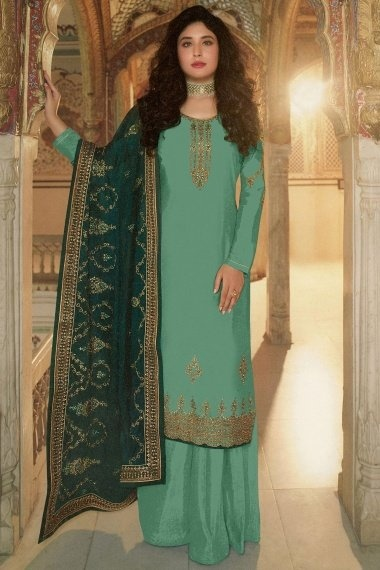 Kritika Kamra Turquoise Green Georgette Silk Straight Cut Embroidered Palazzo Suit