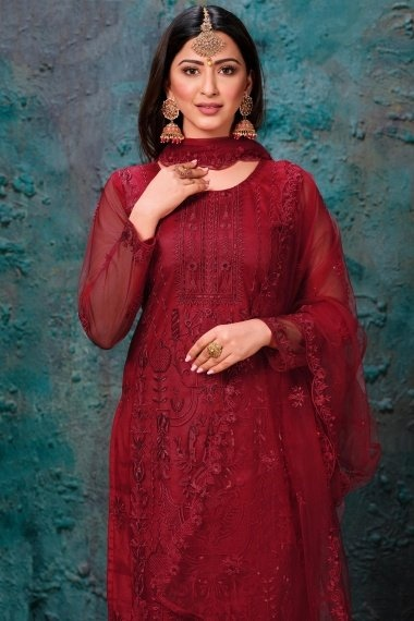 Red Net Embroidered Straight Cut Suit with Sequins Work
