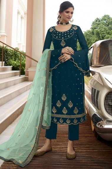 Purssian Blue Georgette Dori Embroidered Straight Cut Suit with Bell Sleeves