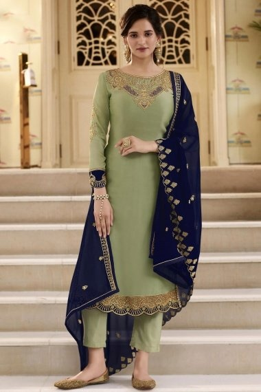 Moss Green Georgette Dori Embroidered Straight Cut Suit