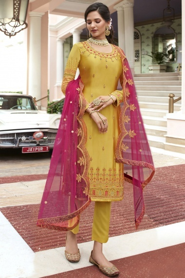 Yellow Georgette Dori Embroidered Straight Cut Suit
