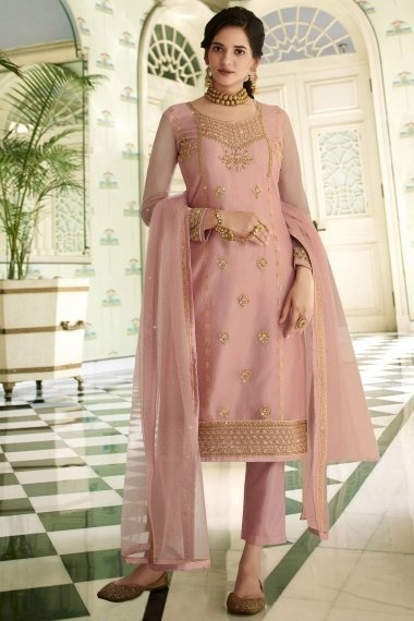 Dusty Pink Georgette Dori Embroidered Straight Cut Suit with Stone Work