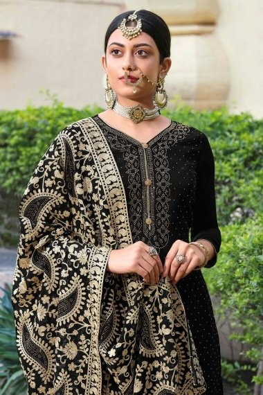 Black Georgette Stone Worked Straight Cut Palazzo Suit with Paisley Embroidery