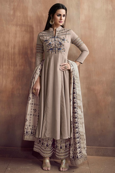 Taupe Muslin Silk Floral Embroidered Designer Anarkali Suit with Palazzo