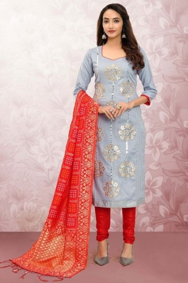 Light Blue Cotton Applique Worked Straight Cut Suit with Bandhej Woven Dupatta