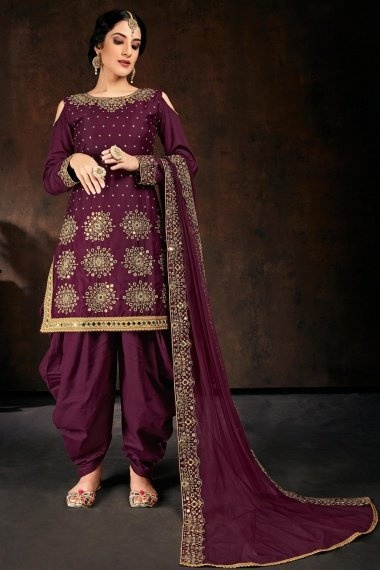 Purple Cotton Straight Cut Cold Shoulder Patiala Suit with Mirror Work
