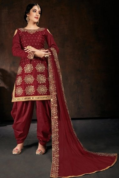 Maroon Cotton Straight Cut Cold Shoulder Patiala Suit with Mirror Work