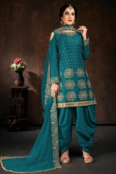 Turquoise Blue Cotton Straight Cut Cold Shoulder Patiala Suit with Mirror Work