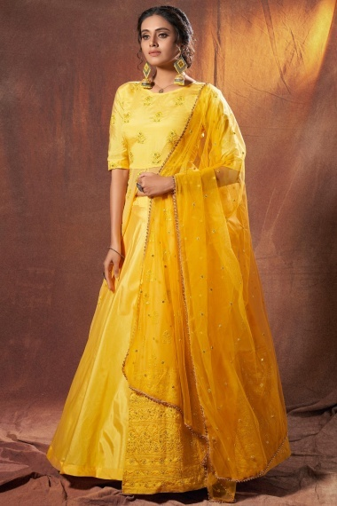 Yellow Georgette Designer Front Slit Cut Lehenga Suit with Embroidery
