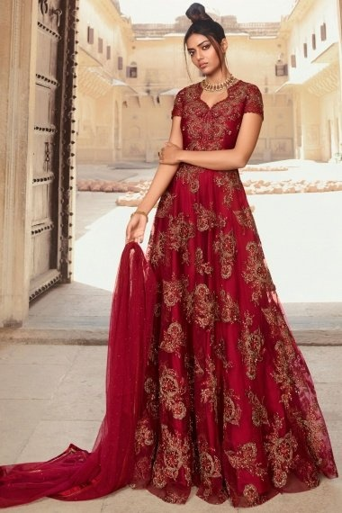 Red Net Embroidered Designer Anarkali Suit with Stone Work