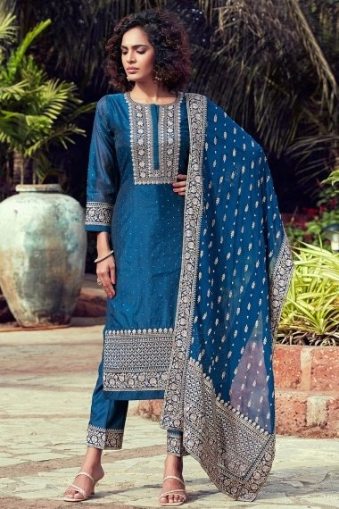 Blue Chanderi Silk Straight Cut Suit with Embroidery